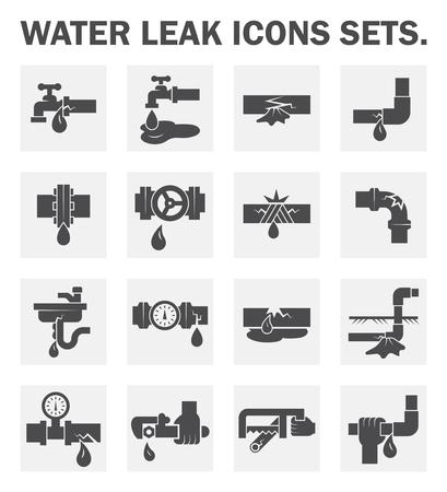 wyciek wody ikony sety.