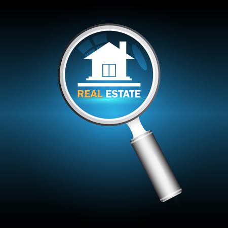 model home: Illustration of home model and magnifier on dark background. Illustration