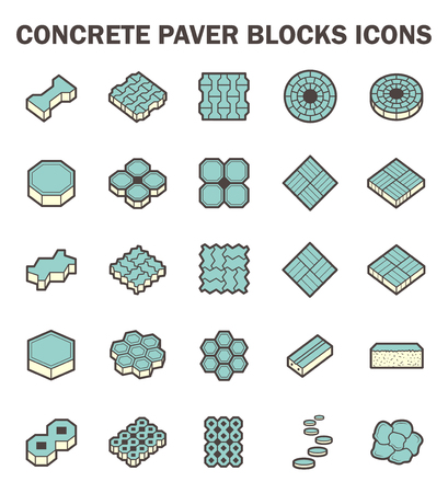 paving stone: Concrete paver block icons sets.