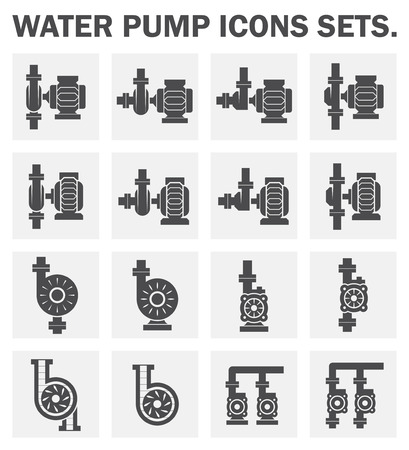 sanitary engineering: Water pump icons sets.