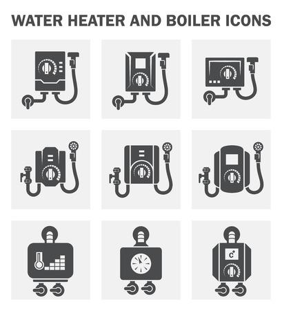 Chauffe-eau et les icônes de la chaudière.