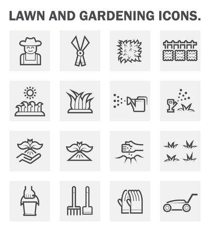 crop sprayer: Lawn and gardening icons sets.