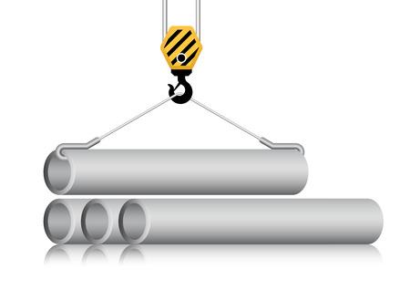 carga: Vector del gancho de la grúa y el tubo de acero aislado en blanco.