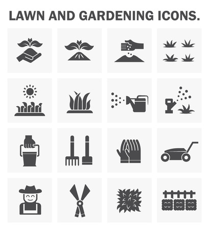 sprinklers: Lawn and gardening icons sets.