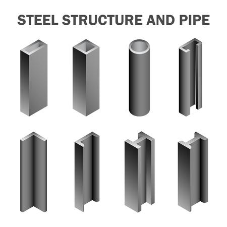 acero: Estructura de acero y tubería aislados sobre fondo blanco.