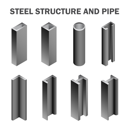 Steel structure and pipe isolated on white background. Illustration