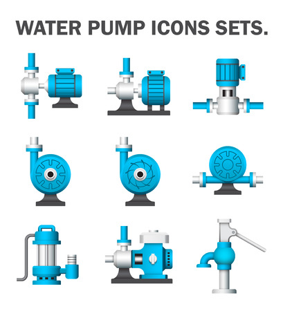 pump: Water pump sets isolated on white background.