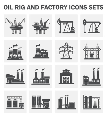 oil platform: Factory building icons on white background.