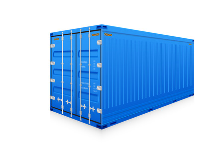 container port: Vector of cargo container isolated on white background.