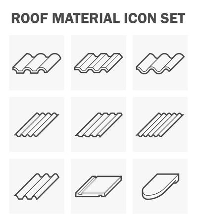 Roof material icon set. Stock Illustratie