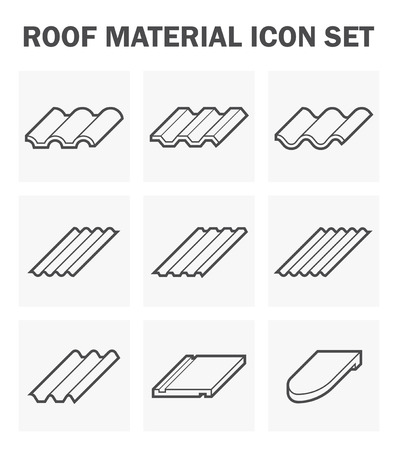 tile roof: Roof material icon set. Illustration