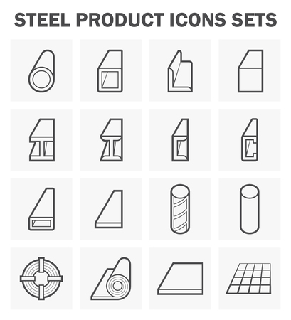 construction material: Steel product and construction material icons sets.