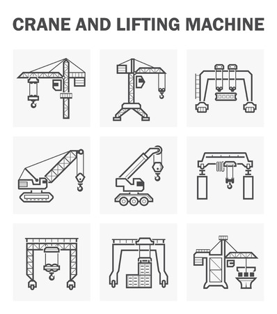 Crane and lifting machine icons sets. Ilustrace