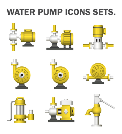 sewage system: Water pump sets isolated on white background.
