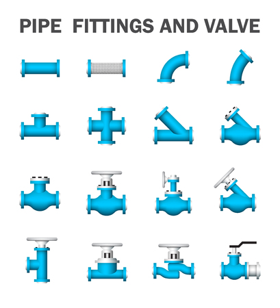 fittings: Pipe fittings and valve isolated on white background.