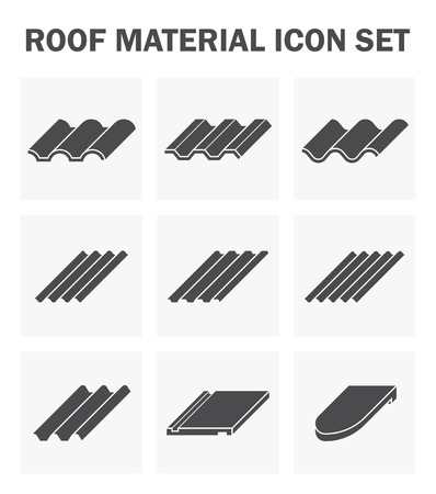 flat roof: Roof material icon set. Illustration