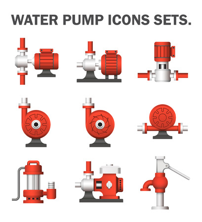 Water pump sets isolated on white background.