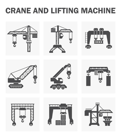 tower crane: Crane and lifting machine icons sets. Illustration