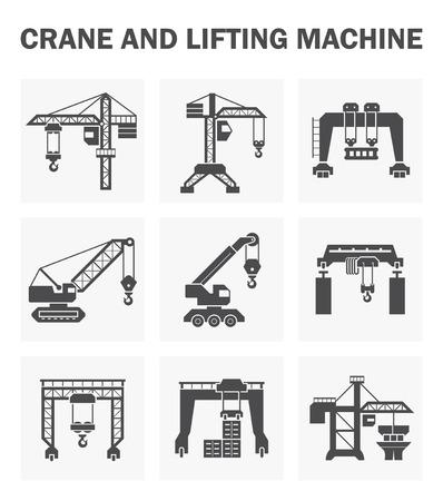 Maszyna podnoszenia żurawia i ikony zestawów. Ilustracje wektorowe