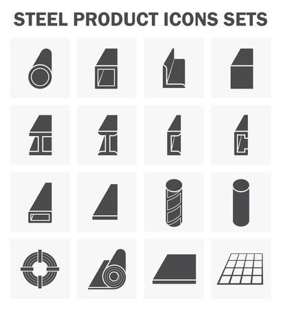 acero: producto de acero y material de construcción de los iconos de juegos. Vectores