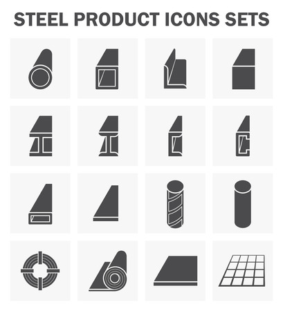 steel structure: Steel product and construction material icons sets.