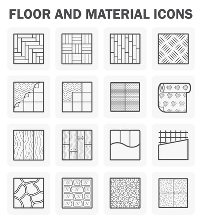 Floor and material icons sets. Stock Illustratie