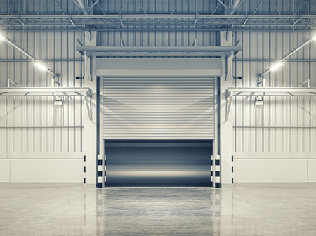 commerce and industry: Shutter door or rolling door, blue color tone.