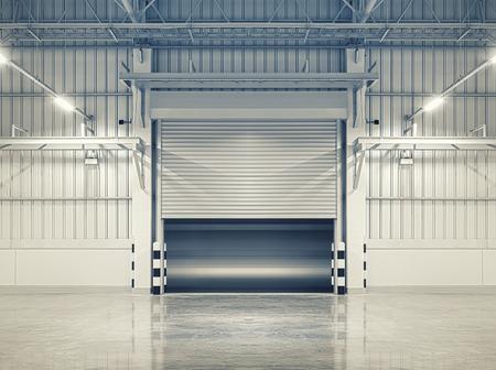 steel floor: Shutter door or rolling door, blue color tone.