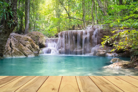 swimming: Erawan waterfall in Kanjanaburi province of Thailand.
