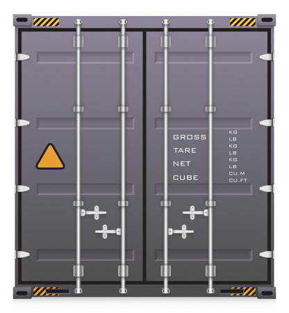 white back: Illustration of cargo container isolated on white background.