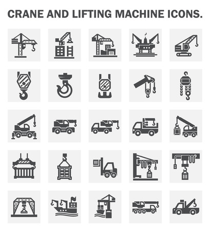 Crane and lifting machine icons sets. Vectores
