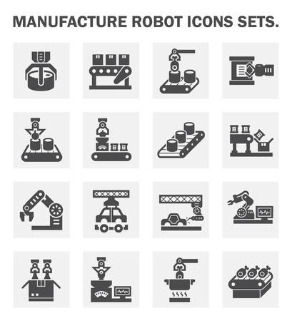 mecanico automotriz: Fabricación iconos robot conjuntos.
