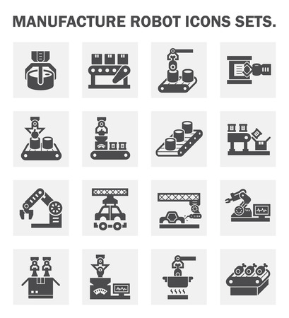 machinery: Manufacture robot icons sets.