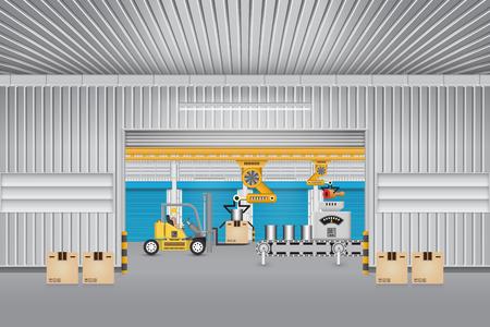 inside: Robot working with conveyor belt and forklift inside factory. Illustration