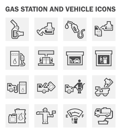 Gas station and vehicle icons sets. Stock Illustratie