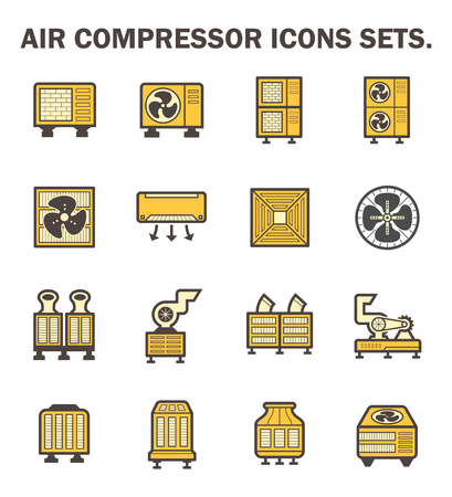 condenser: Air compressor icons sets. Illustration
