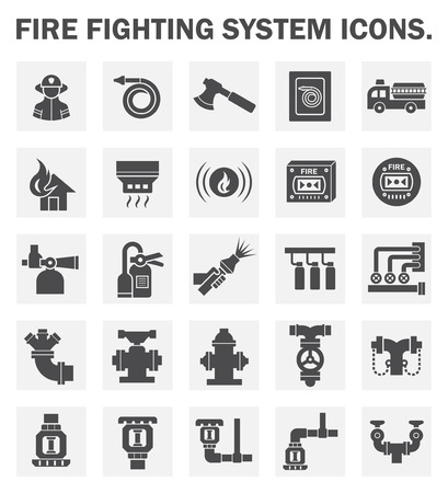 incendio casa: Sistema de extinci�n de incendios iconos conjuntos.