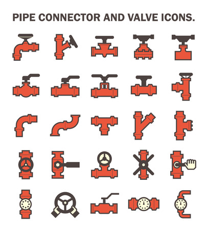 pipe connector: Pipe connector and valve icons. Illustration