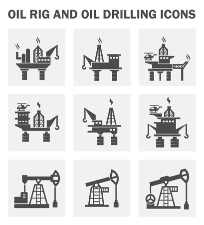 torres petroleras: Plataforma petrolera y de perforaci�n de petr�leo iconos conjuntos. Vectores