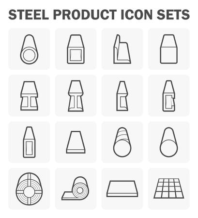 acero: producto de acero y conjuntos de iconos de materiales de construcción.