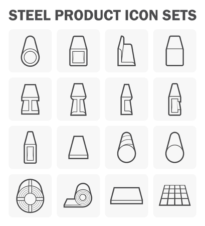 i beam: Steel product and construction material icon sets.