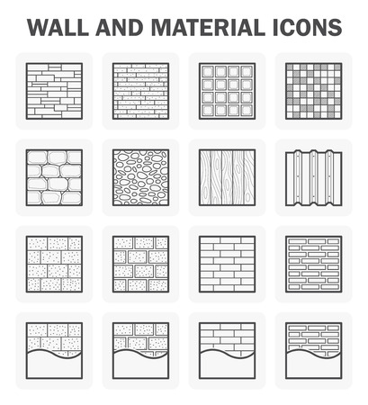 paving stones: Wall and material icon sets.