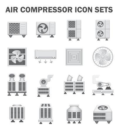 Compresor de aire conjuntos de iconos aislados en blanco.