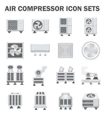 condenser: Air compressor icon sets isolated on white.