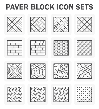 cobble: Paver block and stone icon sets.