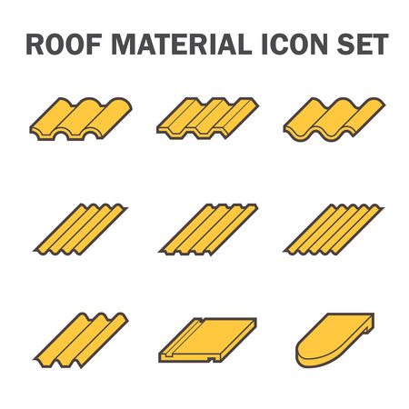 yellow roof: Roof material icon set. Illustration