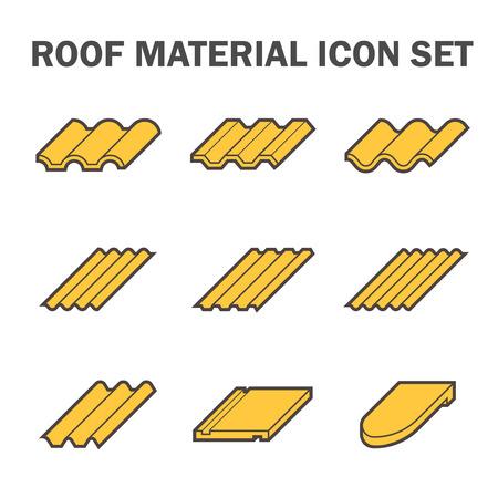 Toit icône de matériau fixé.