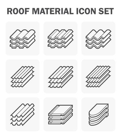 sheet iron: Roof material icon set. Illustration