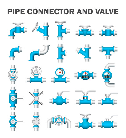 Pipe connector and valve icons. 向量圖像