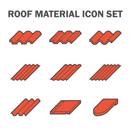 steel: Roof material icon set. Illustration